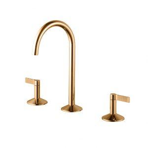 Batería lavabo 3 piezas Lignage Luxe Oro maneta estriada Noken